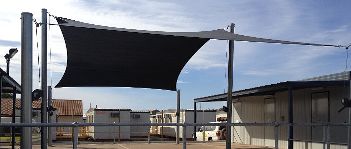 Shade sail over a commercial area image